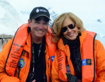 Scott Wallace and his wife, Christy, pose for a photo during a trip to Antarctica.