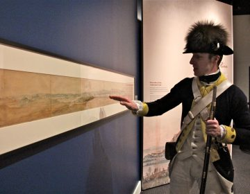 Museum of the American Revolution educator Dan Center identifies landmarks in a 7-foot-long painting by Pierre L'Enfant. It is the only known depiction of George Washington's headquarters tent in use in the field.