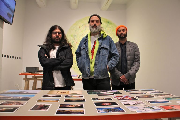 Artists (from left) Ricky Yanas, Grimaldi Baez and Sheldon Abba at their exhibit,
