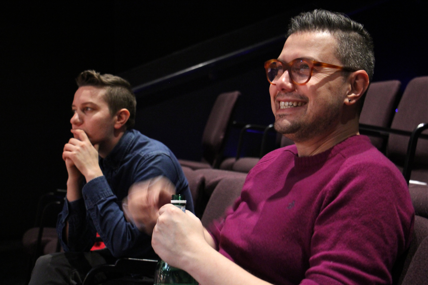 "MJ Kaufman (left), author of ""Sensitive Guys,"" watches rehearsal with director Evren Odcikin."