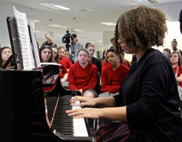 Puerto Rican piano prodigy Paola Calderon performs during a master class at Philadelphia Performing Arts String Theory School. The 14-year-old relocated to Philadelphia in November after Hurricane Maria devastated Puerto Rico.