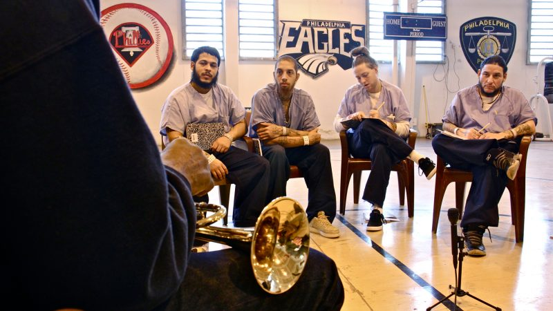 Prisoners at the Philadelphia Detention Center get music and life lessons from  Philadelphia Orchestra composer-in-residence Hannibal Lokumbe. (Emma Lee/WHYY)