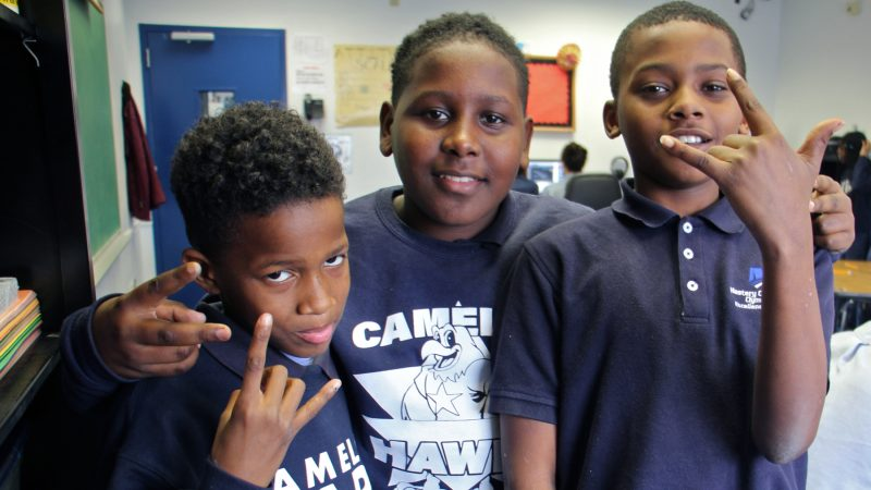 Camelot KAPS students (from left) Jahir Ford, Khalif Henry and Karon Cooper. (Emma Lee/WHYY)