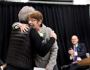 Sister Mary Scullion of Project HOME embraces Joh Bon Jovi, whose Soul Foundation has helped to alleviate homelessness in Philadelphia. The two celebrated the opening of Hub of Hope, a service center for homeless people located in the Center City subway concourse.