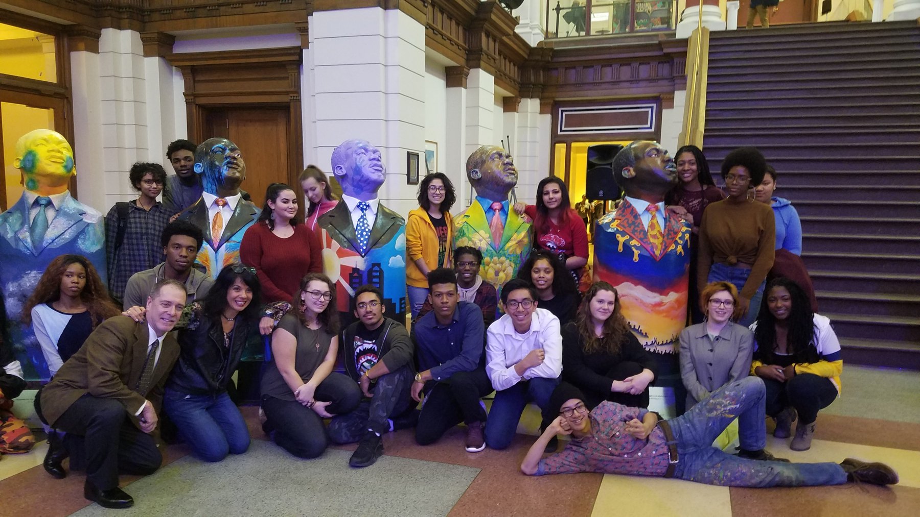 The statues were hand painted by students at the Philadelphia High School for the Creative and Perfoming Arts.