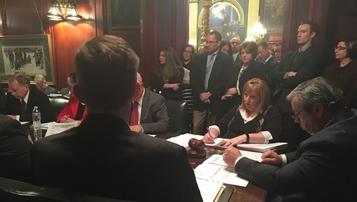 The Senate Appropriations Committee passes a shell bill designed as an eventual vehicle for language to redraw Pennsylvania's congressional maps. (Katie Meyer/WITF)