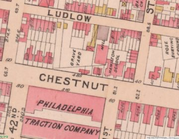 A graveyard at 4125 Chestnut St. is marked on the 1895 Bromley's Atlas of Philadelphia.
