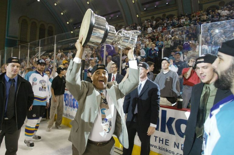 Art Dorrington, former Sea Gull, hoists the Kelly Cup after the Boardwalk Bullies won game 5 of the East Coast Hockey League's championship series at Boardwalk Hall in Atlantic City on May 14, 2003.
