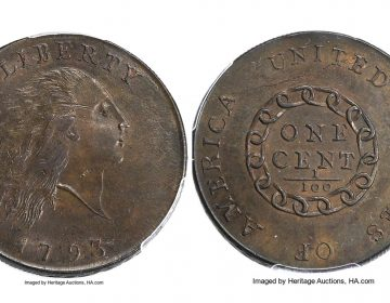This composite photo provided by Heritage Auctions shows a 1793 cent made by the U.S. mint in Philadelphia.  (Heritage Auctions via AP)