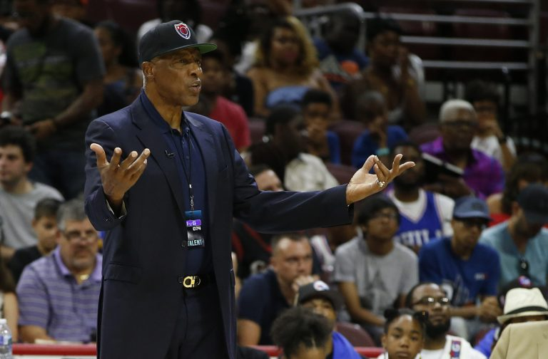 This July 16, 2017 photo pictures Tri State coach Julius Erving questioning a call during a game against 3's Company during in the BIG3 Basketball League in Philadelphia, Pa. Erving fell ill at the Philadelphia 76ers' game Friday night and was taken to a hospital. (Rich Schultz/AP Photo)