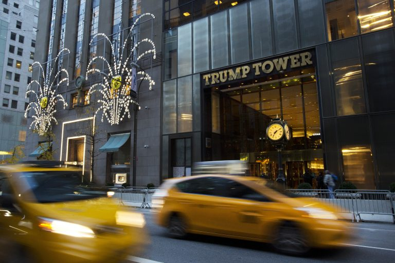 Traffic passes Trump Tower, Monday, Nov. 21, 2016, in New York.