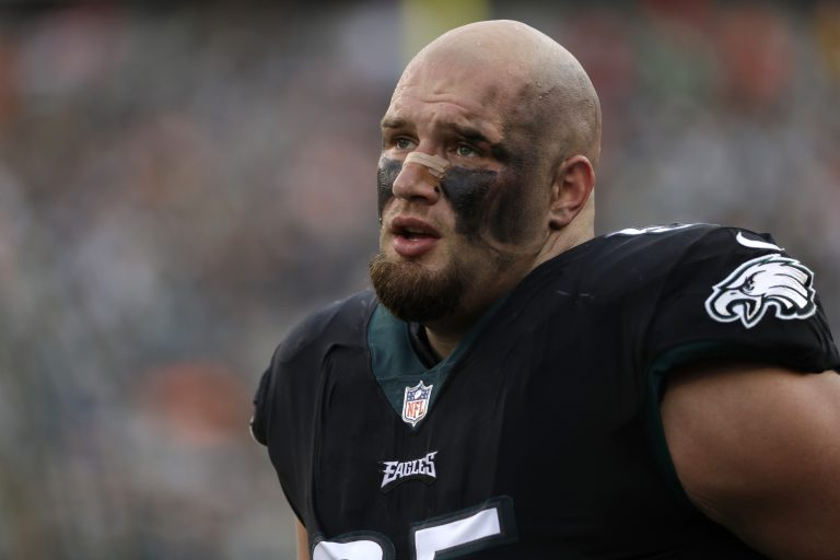 a4949b7cda2 Philadelphia Eagles' Lane Johnson is seen during the second half of an NFL  football game