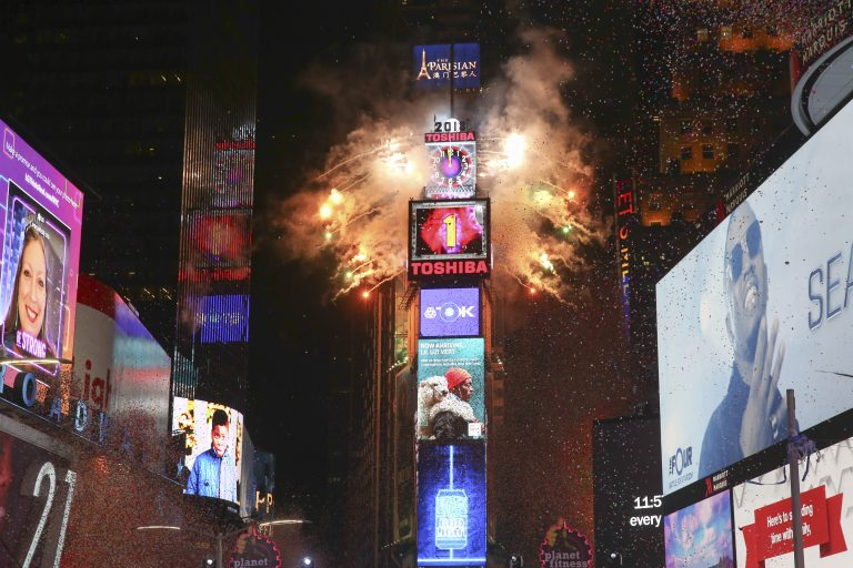 The ball drops during the New Year's Eve celebration in Times Square on Sunday, Dec. 31, 2017, in New York.