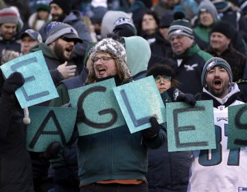 Philadelphia Eagles' fans cheer before an NFL divisional playoff football game against the Atlanta Falcons, Saturday, Jan. 13, 2018, in Philadelphia.