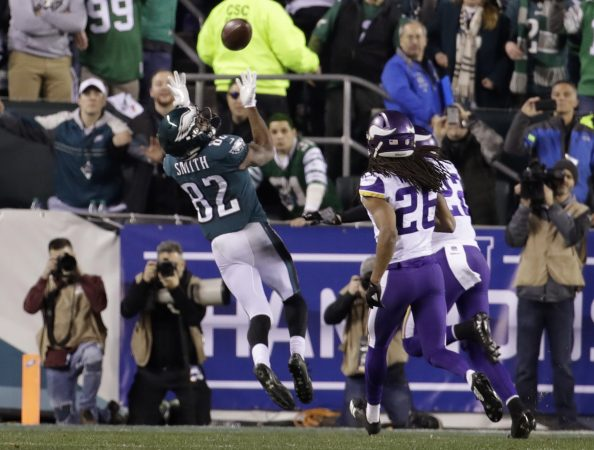Philadelphia Eagles' Torrey Smith catches a touchdown pass during the second half of the NFL football NFC championship game against the Minnesota Vikings Sunday, Jan. 21, 2018, in Philadelphia. (AP Photo/Matt Rourke)