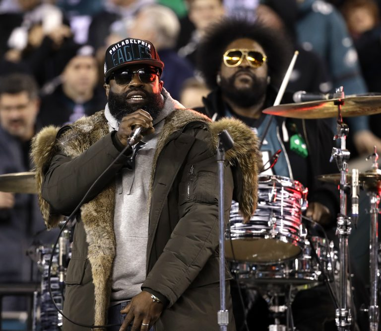 The Roots perform during halftime of the NFL football NFC championship game between the Philadelphia Eagles and Minnesota Vikings Sunday, Jan. 21, 2018, in Philadelphia. (AP Photo/Matt Rourke)