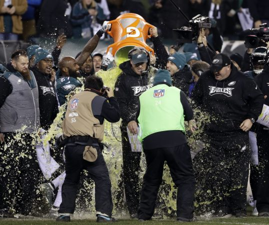 Philadelphia Eagles head coach Doug Pederson is dunked during the second half of the NFL football NFC championship game against the Minnesota Vikings Sunday, Jan. 21, 2018, in Philadelphia. (AP Photo/Matt Slocum)