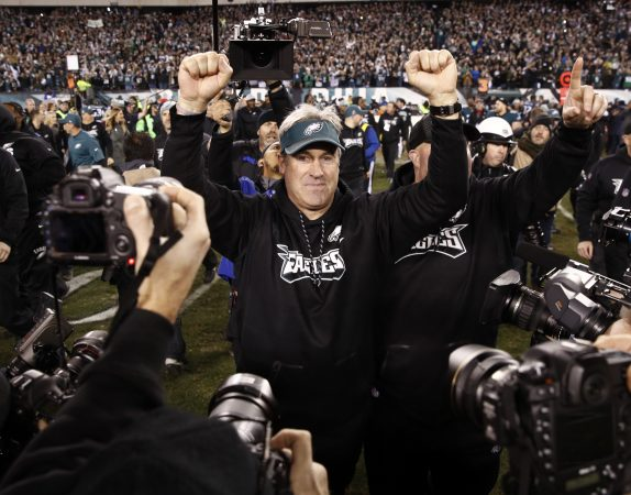 Philadelphia Eagles head coach Doug Pederson reacts after the NFL football NFC championship game against the Minnesota Vikings Sunday, Jan. 21, 2018, in Philadelphia. The Eagle won 38-7 to advance to Super Bowl LII. (AP Photo/Patrick Semansky)