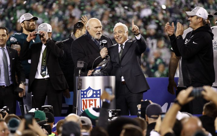 Philadelphia Eagles owner Jeffrey Lurie celebrates after the NFL football NFC championship game against the Minnesota Vikings Sunday, Jan. 21, 2018, in Philadelphia. The Eagles won 38-7 to advance to Super Bowl LII. (AP Photo/Patrick Semansky)