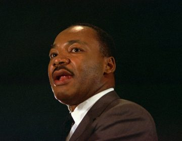 The Rev. Dr. Martin Luther King Jr. speaks April 15,1967 at a peace rally in New York City.