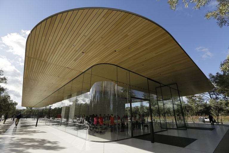 Shown is an exterior view of the Apple Park Visitor Center during its grand opening Friday, Nov. 17, 2017, in Cupertino, Calif. (Eric Risberg/AP Photo)