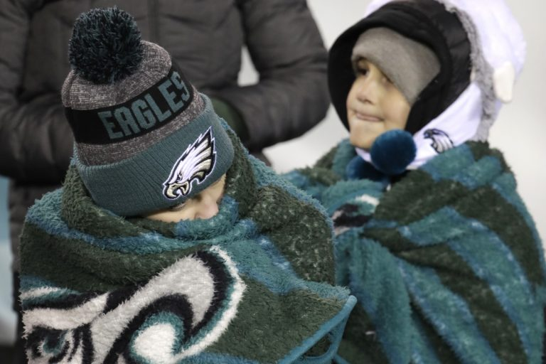 Young fans watch during the first half of an NFL divisional playoff football game between the Philadelphia Eagles and the Atlanta Falcons, Saturday, Jan. 13, 2018, in Philadelphia. (Chris Szagola/AP Photo)