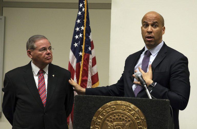 Sen. Bob Menendez, D-NJ, (left), and Sen. Cory Booker, D-NJ (Mel Evans/AP Photo, file)