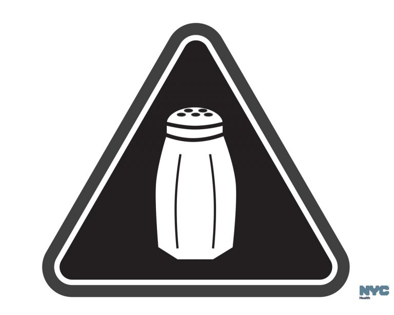 In this undated image provided by the New York City Health Department, a graphic warning New York city consumers of high salt content in foods required on menus at many fast-food and chain restaurants is shown. New York City plans to start enforcing a first-of-its-kind requirement for warning icons on salty chain restaurant foods on June 6, 2016, after getting an appeals court's go-ahead to start issuing fines. (Antonio D'Angelo/New York City Health Department via AP)