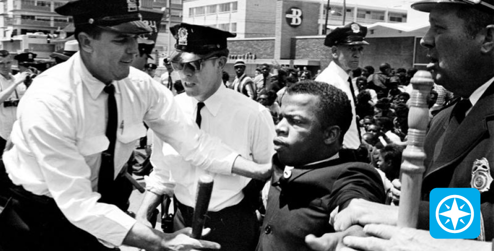 John Lewis with the police - WHYY Passport logo.