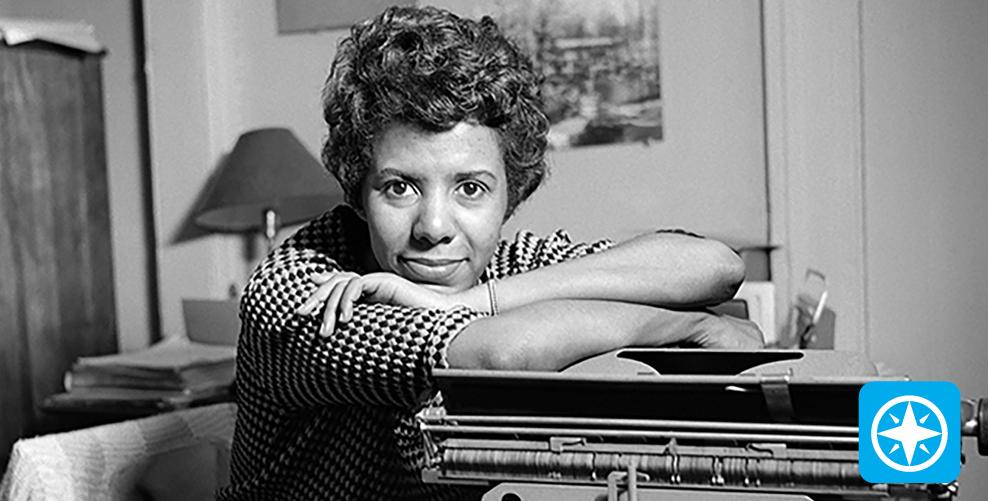 Lorraine Hansbury on typewriter.