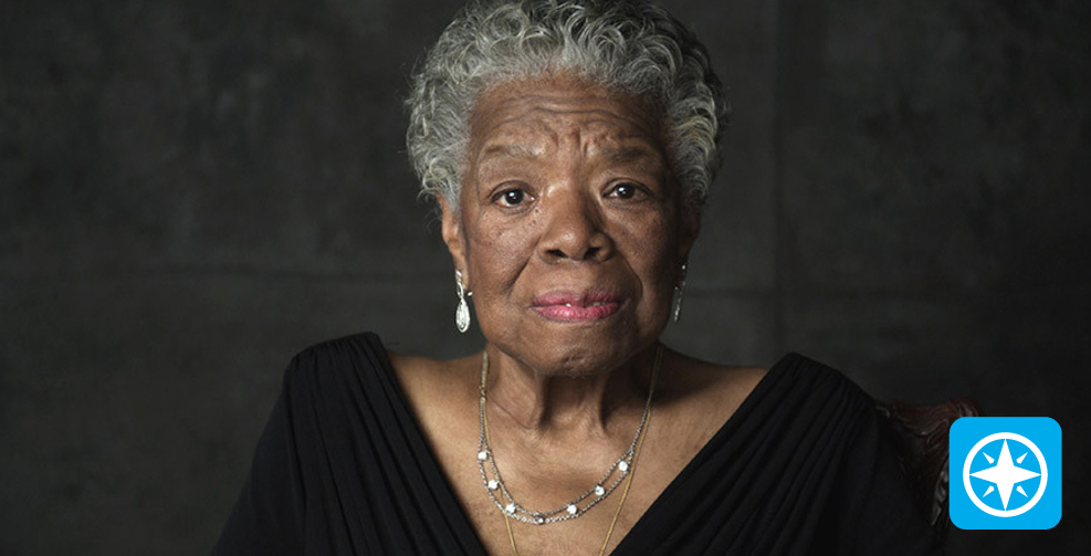 Maya Angelou with Passport logo.