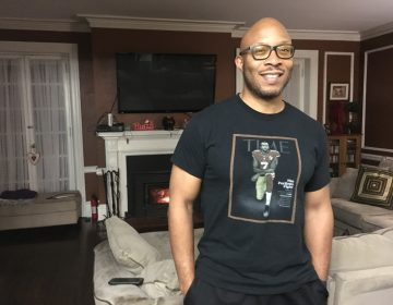 Herman Douglas wears a Colin Kaepernick T-shirt to show his support for the former NFL quarterback turned activist. (Darryl Murphy/for WHYY)
