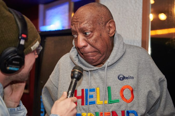 Bill Cosby makes a face instead of answering a question from WHYY's Bobby Allyn about his retrial in April