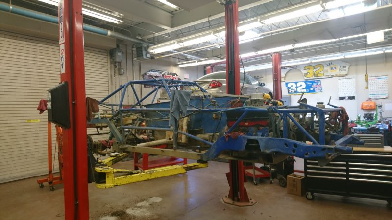 The frame of a car in Corry's automotive classroom (Kevin McCorry/Keystone Crossroads)