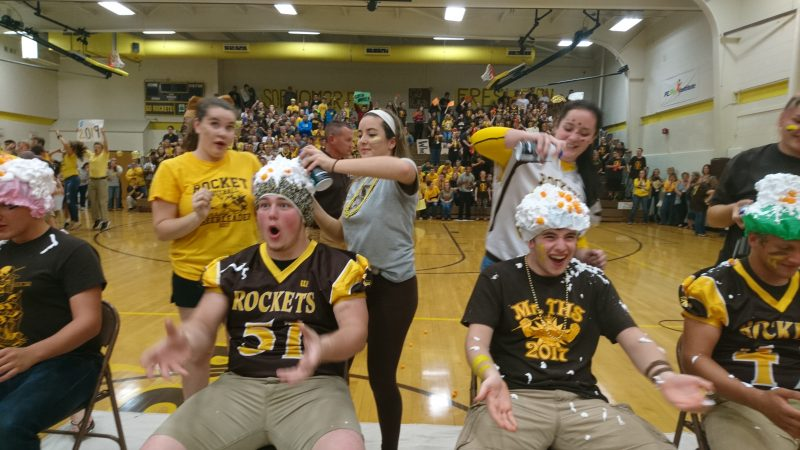 Titusville High School students participate in a spirit game during the homecoming pep rally (Kevin McCorry/Keystone Crossroads)