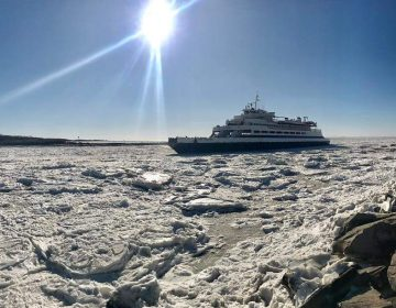 A Cape May-Lewes Ferry boat crosses an icy Delaware Bay. (photo courtesy DRBA)