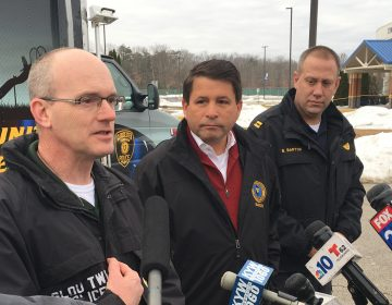 Police Chief Harry Earle speaks to reporters following a standoff Thursday (Tom MacDonald/WHYY)