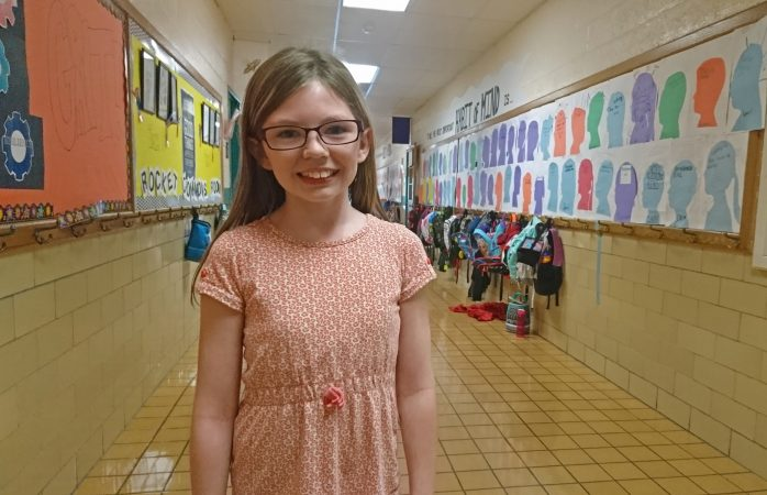 Hydetown Elementary School student Breanna Nichols praised the mass customized learning model (Kevin McCorry/Keystone Crossroads)