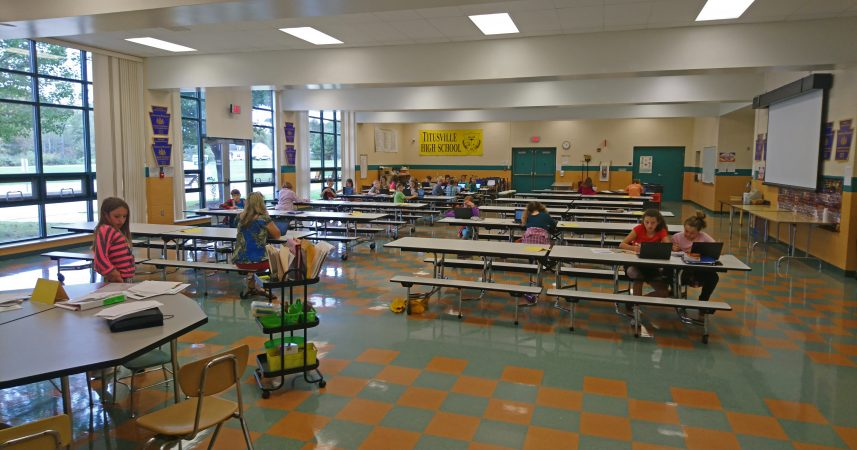 At Hydetown Elementary traditional notions of the classroom have been jettisoned. For instance, students use the cafeteria as a space to work (Kevin McCorry/Keystone Crossroads)