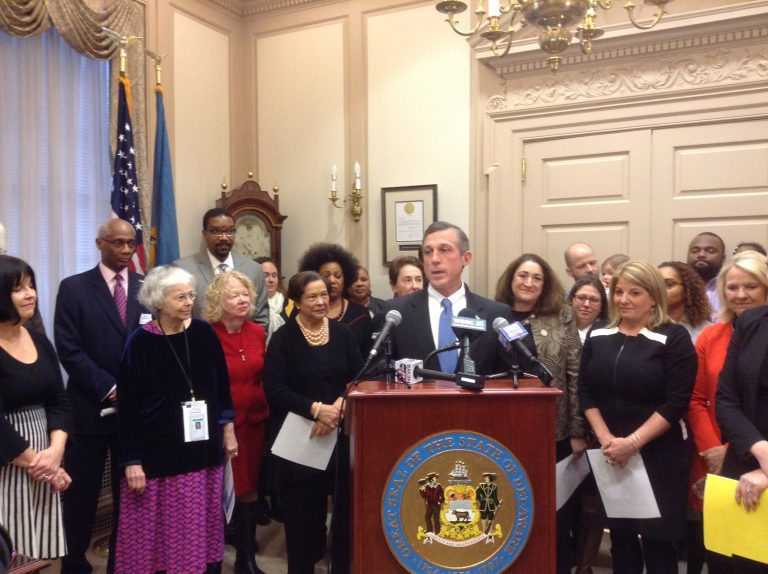 Gov. Carney and state legislators show support for paid maternity leave.