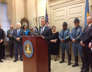 Gov. Carney announced legislation to keep guns out of the hands of individuals suffering from mental illness. (WHYY/Zoe Read)