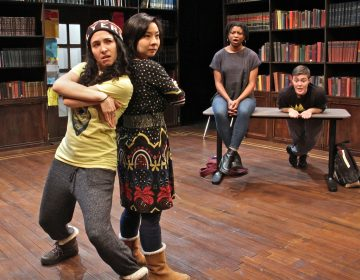 Members of the Interact Theater Company (from left), Lexie Braverman, Bi Jean Ngo, Brett Ashley Robinson, and Emily Lynn, rehearse