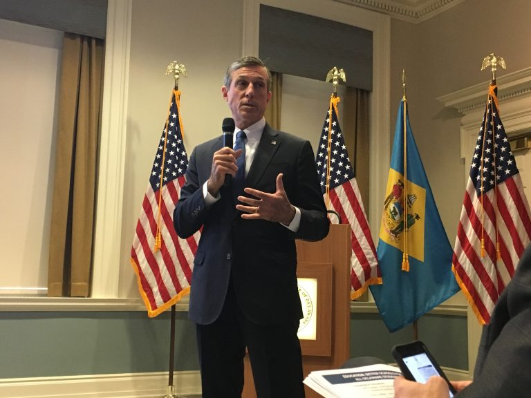 Delaware Gov. John Carney presents his FY 2019 budget to state lawmakers at the Delaware Public Archives in Dover. (Mark Eichmann/WHYY)