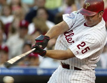 Philadelphia Phillies' Jim Thome strikes out against New York Mets starting pitcher Al Leiter in the second inning Tuesday, July 6, 2004, in Philadelphia. (Credit: Associated Press)