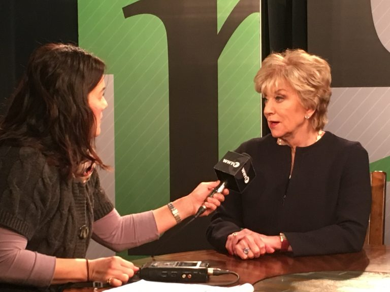 SBA Administrator Linda McMahon answers a question in WHYY's Wilmington studio during an interview Tuesday.