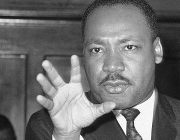 Martin Luther King speaks in Atlanta in 1960.