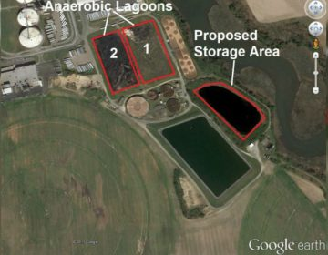 This map provided by DNREC shows the area Mountaire Farms wants to store additional sludge. (GoogleEarth photo courtesy DNREC)