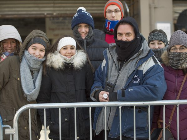 The Tucci family came dressed for the record low temperatures. The family members came from Pa. and Wilmington, Del.