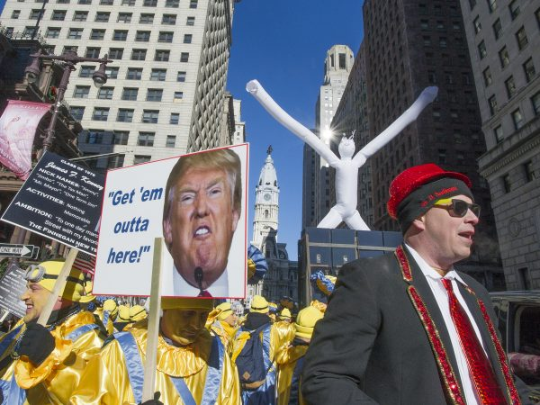 The Finnegan New Year's Brigade poked fun at President Trump and Mayor Kenny.