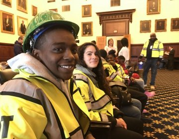 Taryn Canty-Reed, 20, (front), says young people in her generation have experienced abandonment and have also abandoned themselves. Now it's time for them to chase opportunities, said the YouthBuild Philadelphia Charter School student attending a press conference in City Hall Tuesday, Jan. 9, 2018. (Jane M. Von Bergen/The Notebook)